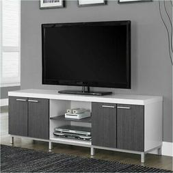 "Bowery Hill 60"" 2 Storage Caninet TV Console in White and Gr"