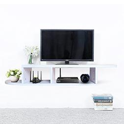 2 Tier Floating Shelf Wall Mount TV Console, Media Stand Ent