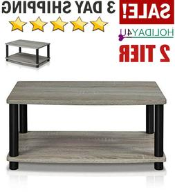 2 Tiers Elevated TV Stands Small Wood Storage Stand Tables H