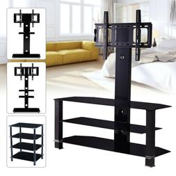 "32""-70"" 2/3/4 Shelves Tempered Glass Adjustable TV Stand Ent"