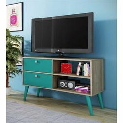 "Bowery Hill 35"" TV Stand in Oak and Aqua"