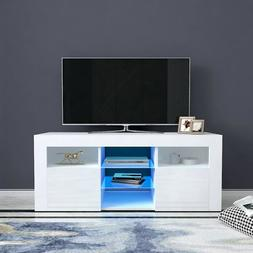 "51"" High Gloss Modern TV Stand Cabinet LED Light Entertainme"