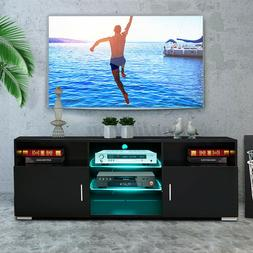 "57"" TV Stand Cabinet w/LED Shelves 2 Door Modern Entertainme"