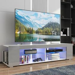 """57"""" TV Stand Cabinet w/LED Shelves Entertainment Center Cons"""