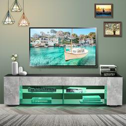 57''TV Stand Unit Cabinet Modern Entertainment Center w/LED
