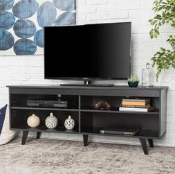 """58"""" Black Simple Minimalist Contemporary Wood TV Console for"""