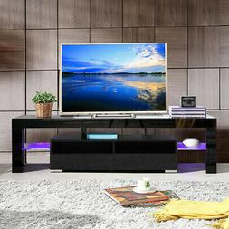 63'' TV Stand Entertainment Center LED Console Wood Modern S