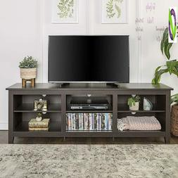 """We Furniture 70"""" Espresso Wood Tv Stand Console For Flat Scr"""