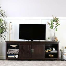 """WE Furniture 70"""" Wood TV Console with Sliding Doors, Espress"""