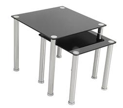 AVF T32-A Black Glass & Chrome Square Side Table/Lamp Table/