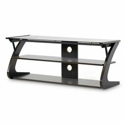 Baxton Studio Sculpten Modern TV Stand with Glass Shelves, D