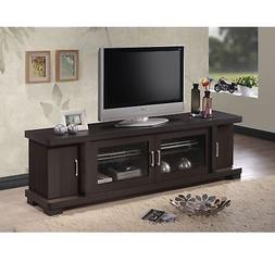 Brown Wood TV Stand Entertainment Media Center Console 2 Doo
