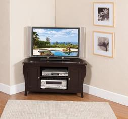 Kings Brand Espresso Finish Wood Corner TV Stand Entertainme