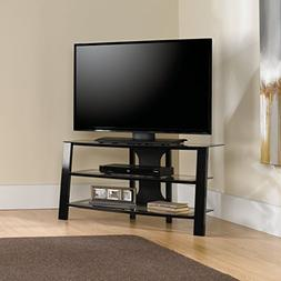 Sauder  412067 TV Stand, Black/Clear Glass