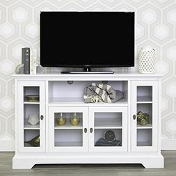 "WE Furniture 52"" Highboy Style Wood TV Stand Console, White"