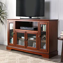"""WE Furniture 52"""" Wood Highboy Style Tall TV Stand - Rustic B"""