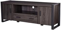 "WE Furniture 60"" Industrial Wood TV Stand Console, Charcoal"