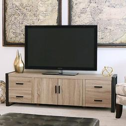 "WE Furniture 70"" Industrial Wood TV Stand Console, Driftwood"