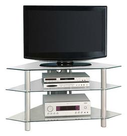 "Walker Edison 44"" Glass Corner TV Stand, Silver"