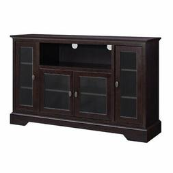 Walker Edison Highboy 52 Wood Highboy TV Stand Espresso