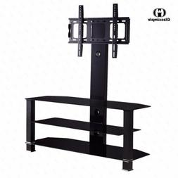 Adjustable Tempered Glass Entertainment Center TV Stand Vide