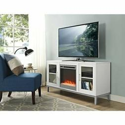 """WE Furniture 52"""" Avenue Wood Fireplace TV Console with Metal"""