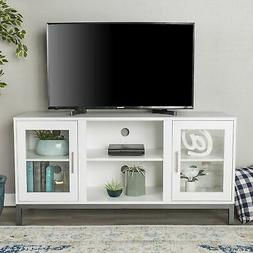 "WE Furniture 52"" Avenue Wood TV Console with Metal Legs - Wh"