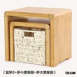 Basket Storage - Japanese Style Rustic Handmade Knitted Desk