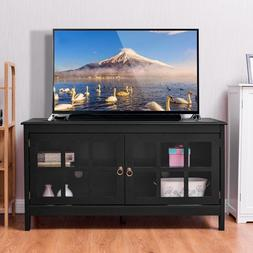 "Black 50"" TV Stand Wood Storage Console Entertainment Media"