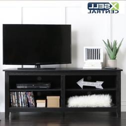 Black 58 Inch Wood TV Stand Entertainment Center Storage Med