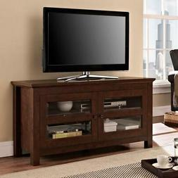 Brown Entertainment Center 2-Doors W/ Tempered Glass Panes H