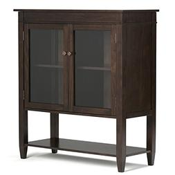 Simpli Home Carlton Medium Storage Cabinet, Dark Tobacco Bro
