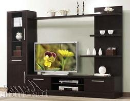 3pc Entertainment Center Contemporary Style in Espresso Fini