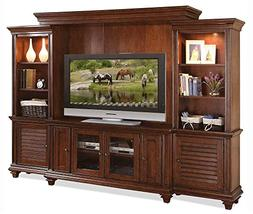 4-Pc Entertainment Center in Warm Rum Finish