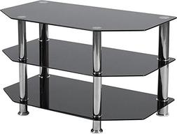 Contemporary Modern Design Black Glass TV Stand with Stainle