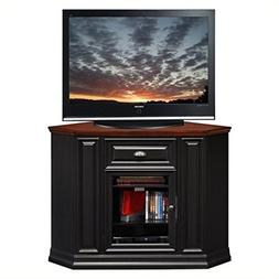 "BOWERY HILL 46"" Corner TV Stand in Black and Cherry"