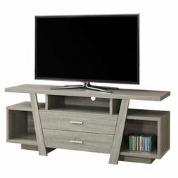 Monarch Specialties I 2721 Dark Taupe with 2 Storage Drawers