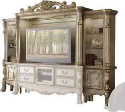 """Dresden Carved Wood 68"""" TV Entertainment Wall Unit In Anti"""