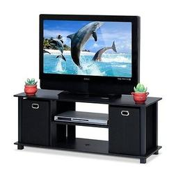 Furinno Econ Entertainment Center with Storage Bins, Black F