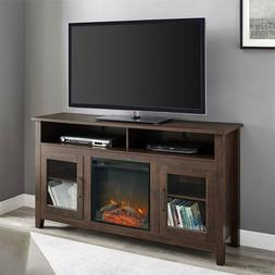 Electric Fireplace TV Stand Brown Wood Media Console Heater