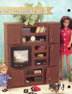 Entertainment Center fits Barbie Doll Plastic Canvas Pattern