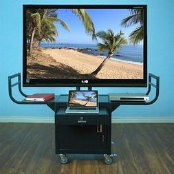 "Entertainment Center Large Flat Panel 65"" Monitor Cart in Bl"
