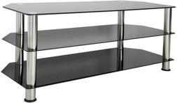 Entertainment Center TV Stand Black Chrome Legs For Up To 55