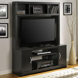 Entertainment Center TV Stand Black Wood Flat Screen AV Medi