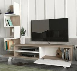 Entertainment Center White Wood 55 Inch TV Stand Media Conso