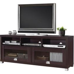 Espresso TV Cabinet for TVs up to 65 inches with 2 Glass Doo