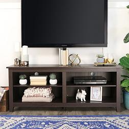 WE Furniture 58-inch Espresso Wood TV Stand with Mount