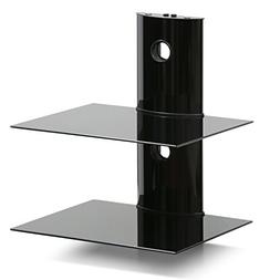 Furinno FRL001BK Modern 2 Floating Entertainment Wall Shelf,