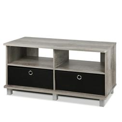 Furinno 11156GYW/BK Entertainment Center, French Oak Grey/Bl