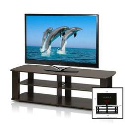 Furinno THE Entertainment Center TV Stand, Dark Brown 11191D